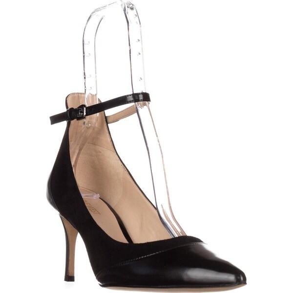 Nine West Morrisa Ankle Strap Dress Pumps, Black/Black Suede