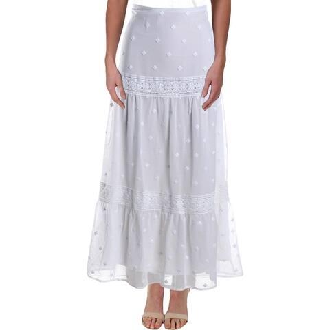 Lauren Ralph Lauren Womens Alexander Peasant, Boho Skirt Floral Lace-Trim - White