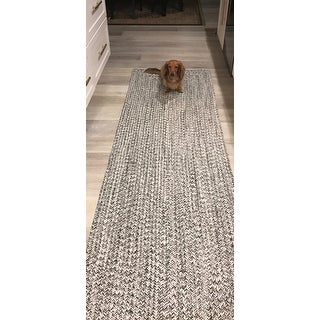 nuLOOM Handmade Casual Solid Braided Runner Grey Rug (2'6 x 12')