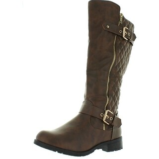 Top Moda Women's Bally-32 Knee High Quilted Leather Riding Boot