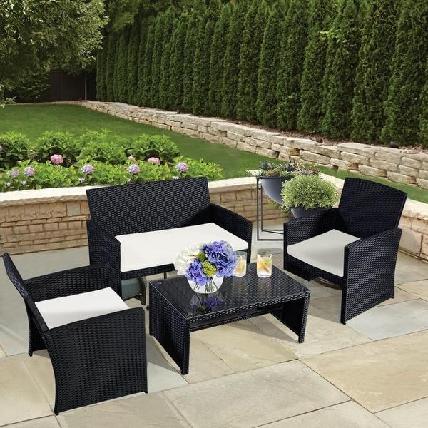 Breckenridge 4 Piece Patio Furniture Set Two Swivel: Costway 4 Pc Rattan Patio Furniture Set Garden Lawn Sofa