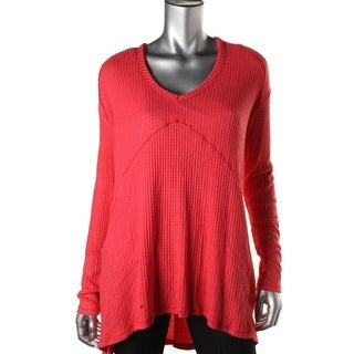 Free People Womens Oversized V-Neck Casual Top - XS