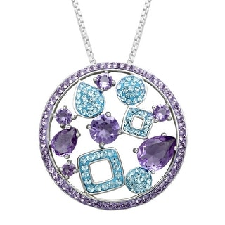 Crystaluxe Circle Pendant with Swarovski Crystals in Sterling Silver - Purple