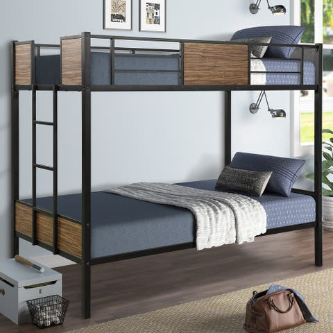 Modern Twin Size Metal Bunk Bed with Safety Rail and Built-in Ladder