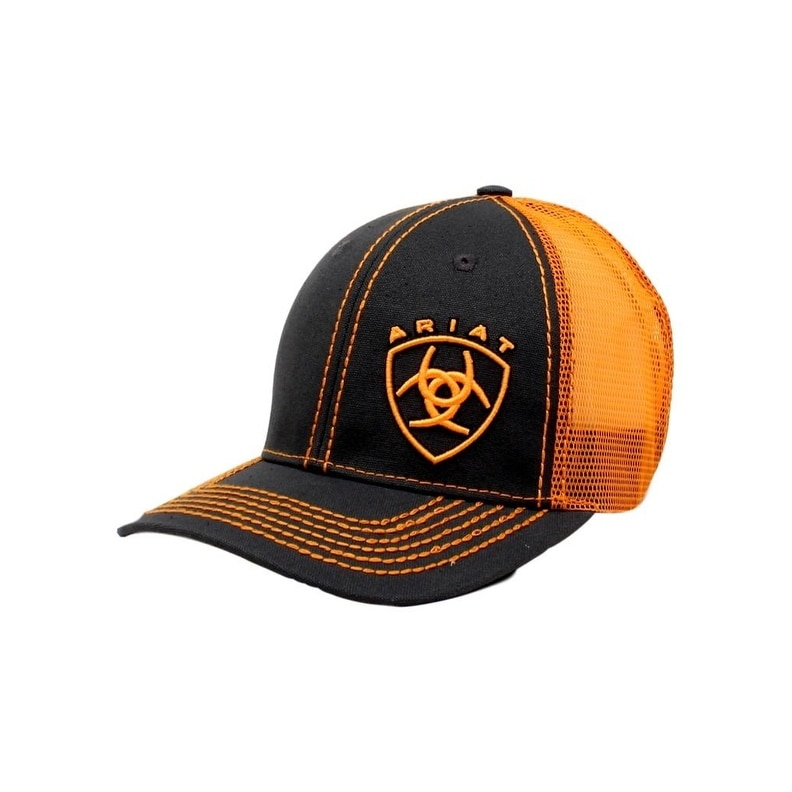 de6e516adcf69d Shop Ariat Western Hat Mens Baseball Cap Shield Snap Mesh Orange Hat - Free  Shipping On Orders Over $45 - Overstock - 20100968