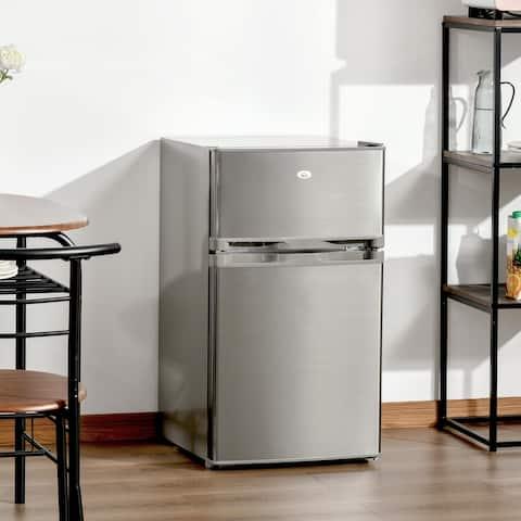 HOMCOM Compact Refrigerator 3 Cu Ft Mini Fridge with 2 Doors Adjustable Temperature Removable Glass Shelves Freezer