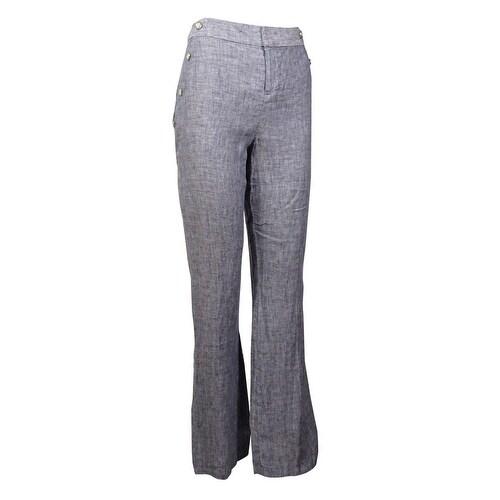 INC International Concepts Women's Linen Regular Wide Leg Pants - INDIGO