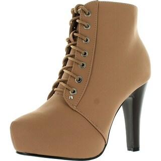 Top Moda Polish-6 Womens Lace-Up Hidden Platform Ankle Boots