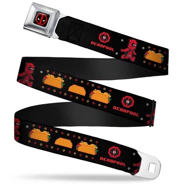 Marvel Universe Deadpool Logo Full Color Black Red White 8 Bit Deadpool Seatbelt Belt