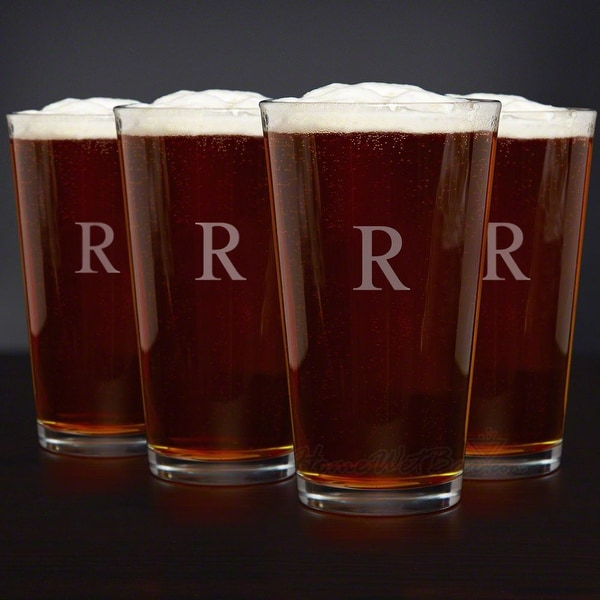Personalized Classic American Pint Glasses, Set of 4. Opens flyout.