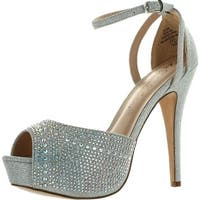 Blossom Womens Vice-126 Bridal Formal Evening Party Ankle Strap High Heel Peep Toe Glitter Sandal