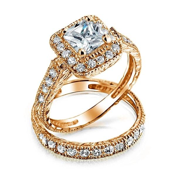 adafd1cd3056a Shop Square Princess Cut Halo AAA CZ Pave Band Engagement Wedding ...
