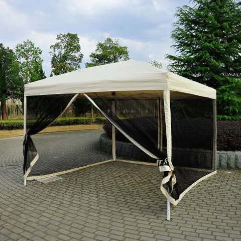 Outsunny 10-foot Easy Pop-up Canopy Tent with Mesh Side Walls