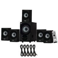 Acoustic Audio AA5172 Home 5.1 Bluetooth Speaker System with USB & 5 Ext. Cables