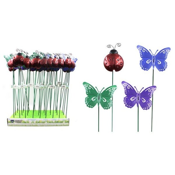 Metal Ladybug/butterfly Plant Stake - 36 Units