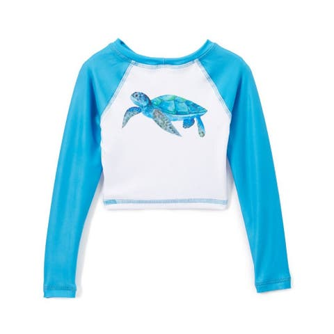 Azul Girls White Aqua Sea Turtle Crop Long Sleeve Rash Guard
