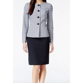 Le Suit NEW Blue Crosshatch Tweed Women's Size 16 Skirt Suit Set