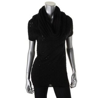Catherine Malandrino Womens Pointelle Cowl Neck Tunic Sweater - S