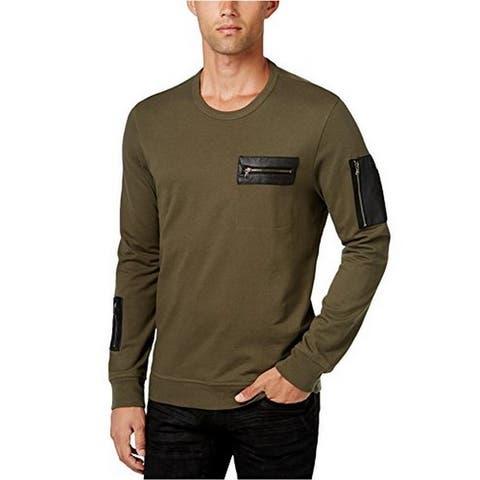 INC Mens Large Faux-Leather-Trim Crewneck Sweater - Greentea