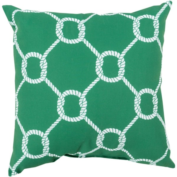 """20"""" Leaf Green and Lace White Roped Square Throw Pillow Cover"""