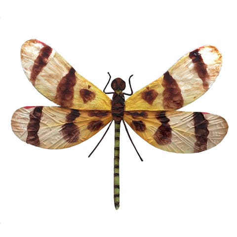 Handmade Brown And Yellow Dragonfly Wall Decor
