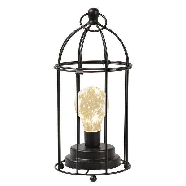 """Circleware Black Metal Desk, Table, or Hanging Lamp - Cordless Lantern Accent Light with LED Bulb - 11"""" High - 11 in. x 5.12 in."""