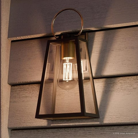 """Luxury Vintage Outdoor Wall Light, 15.125""""H x 6.5""""W, with Farmhouse Style Elements, Olde Bronze Finish by Urban Ambiance"""