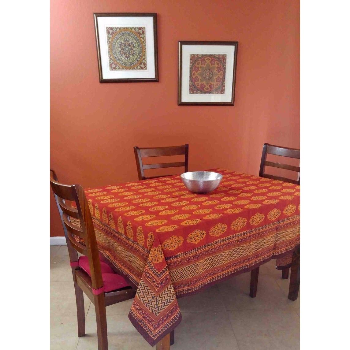 Handmade Kensington Block Print Tablecloth 100% Cotton Rust Brown Rectangular Square Round - Thumbnail 2