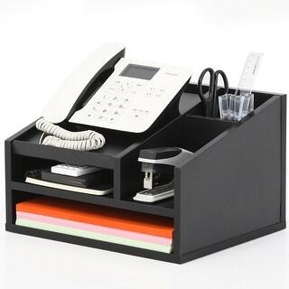 Fitueyes Wood Desktop Office Organizer/Workspace Organizers/Phone Holder/Sticky Note Pad Holder,TR303501WB