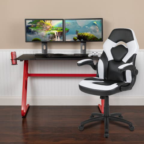 Gaming Desk and Chair Set with Cup Holder and Headphone Hook - Desk Bundle