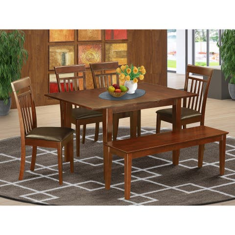 6-Piece Dining Room Set Includes Wood Table, Wooden Chairs and Dining Bench - Mahogany Finish (Chairs Option)