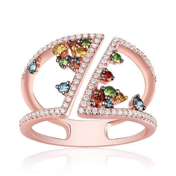 Marvelous 0.65ct Round Brilliant Cut G-H/SI1 Multi Color Diamond & Natural Diamond Fancy Ring - White G-H