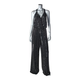 Parker Womens Embellished Surplice Jumpsuit - L
