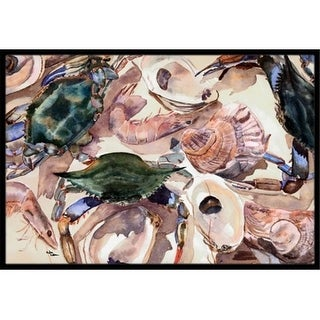 Carolines Treasures 8618MAT 18 x 27 in. Crab Shrimp And Oysters Indoor Or Outdoor Mat