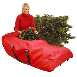 "56"" Heavy Duty Extra Large Red Rolling Artificial Christmas Tree Storage Bag for 9' Trees"
