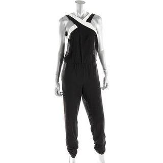 Parker Womens Contrast Trim Sleeveless Jumpsuit - L