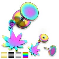 Pot Leaf Dangle Surgical Steel Fake Plug - 16GA (Sold Ind.)