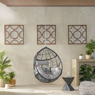Link to Mabel Wicker Hanging Chair by Christopher Knight Home Similar Items in Patio Furniture