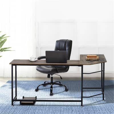"""Home Office L-Shaped Wood Computer Desk 66.14""""X47.24""""X29.53""""Brown"""
