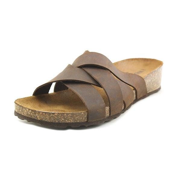 Madeline Girl tobacco Women Open Toe Leather Brown Slides Sandal