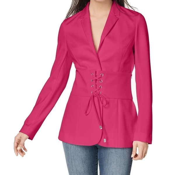 60cfae51af Shop XOXO Women s Lace-Up Corset Notched-Lapel Blazer - Free Shipping On  Orders Over  45 - Overstock.com - 26914313