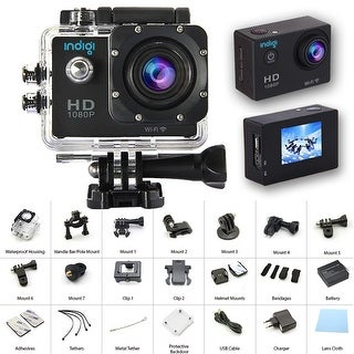 Indigi 4K Action CAM for Sports - Built In LCD - WiFi Viewing - Mounts Included