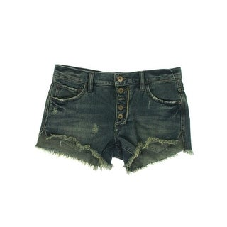 Free People Womens Juniors Cotton Destroyed Cutoff Shorts