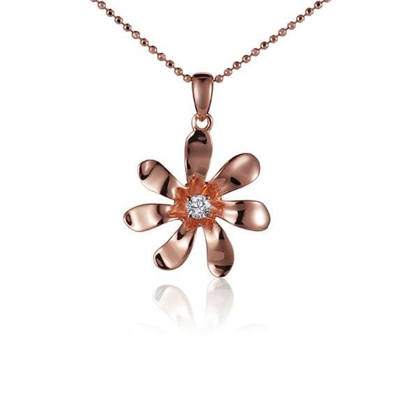 "Tiare DIamond Necklace 14k Rose Gold Pendant 18"" Chain"