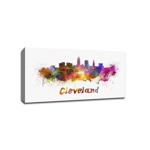 Cleveland - Vibrant Watercolor Skylines - 16x9 Gallery Wrapped Canvas Wall Art