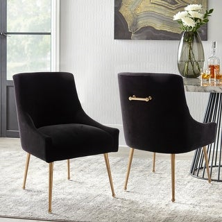 Link to Velvet Upholstered Single Side Dining Chair With Golden Legs Similar Items in Dining Room & Bar Furniture