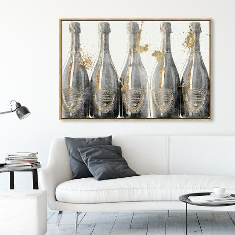 Oliver Gal 'Dom Marbles 1988' Drinks and Spirits Wall Art Framed Canvas Print Champagne - Gold, Gray