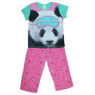 Rene Rofe Girls' 3 Piece Panda Pajama Set - multi - xs 4/5