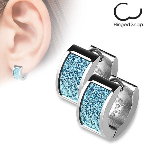 Pair of Square Blue Sand Sparkle Stainless Steel Hoop Earrings