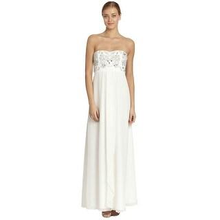 Aidan Mattox Chiffon Embellished Strapless Empire Gown Dress